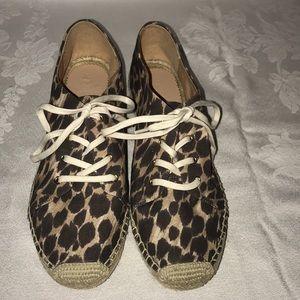 J. Crew flat canvas espadrilles leopard Sz 10